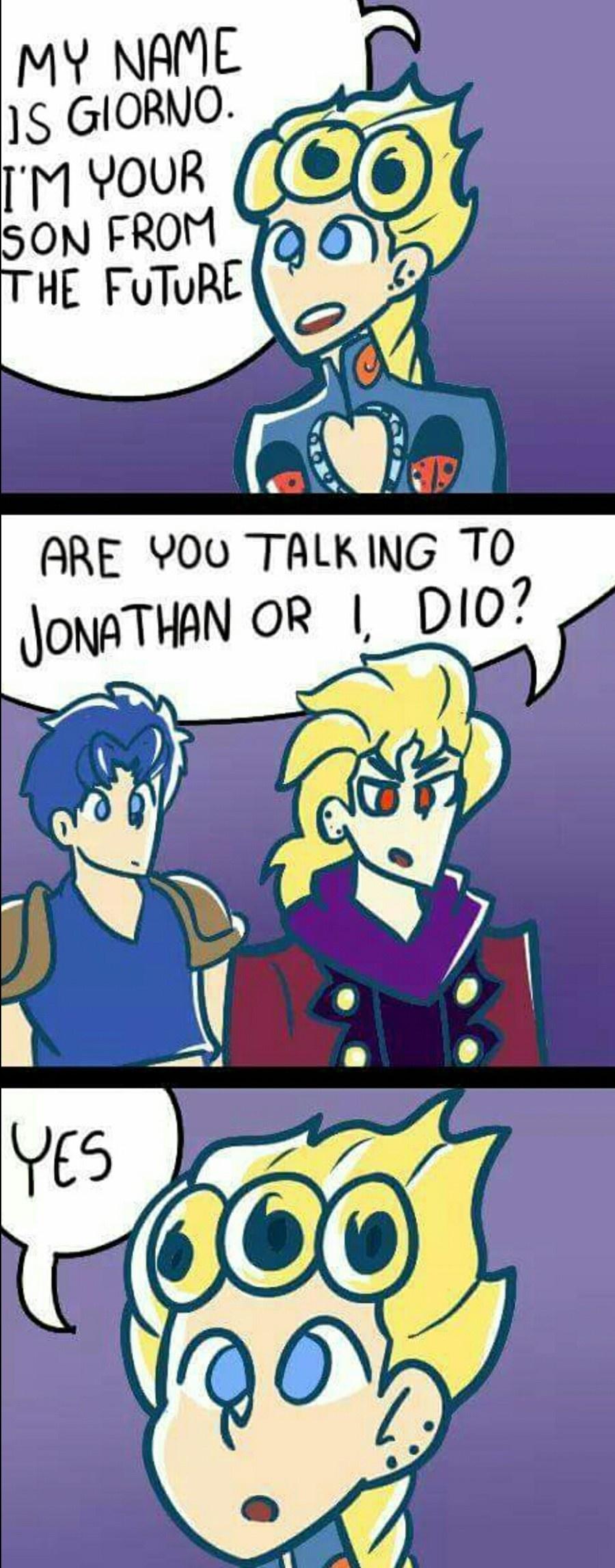 "Giorno meeting dio and jonathan  """