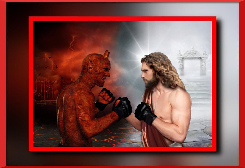 Картинка где иисус борется с дьяволом